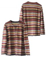 Women's fashion knitted cardigan with stripes, in luxury super soft baby alpaca, with round neck.