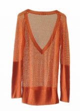 Women's fashion knitted sweater open orange soft baby alpaca with deep V-neck, rib knit sleeves