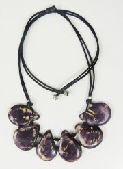 "Jewelry ""purple and white"" necklace made of natural Tagua, Vegetable ivory"
