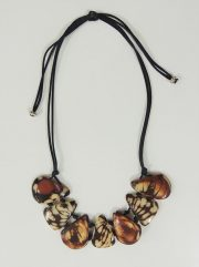 "Jewelry ""brown and white"" necklace made of natural Tagua, Vegetable ivory."