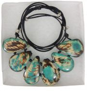 "Jewelry ""turquoise and white"" necklace made of natural Tagua, Vegetable ivory."