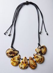 "Jewelry ""yellow and brown"" necklace made of natural Tagua, Vegetable ivory."