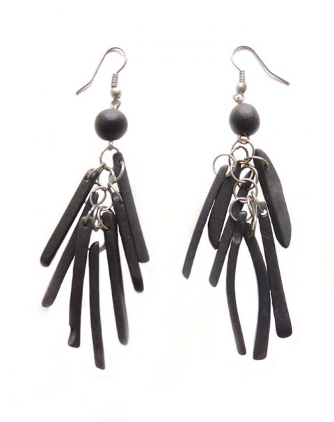 PFL Earrings, black stripes made from Tagua.