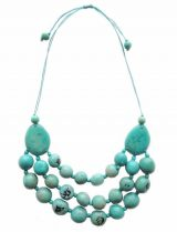 PFL, handmade turquoise Eco necklace in Tagua also known as vegetable ivory.