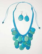 PFL Necklace - earrings in Tagua also known as vegetable ivory.