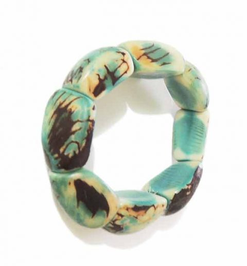 PFL, handmade bracelet in Eco Tagua also called vegetable ivory, turquoise