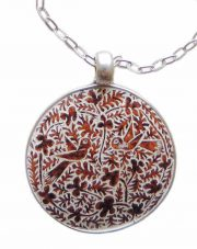 PFL Premium necklace of silver 950 pendant with hand-engraved designs in dried gourd (mate)