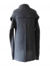 PFL, Full knitted open cardigan model Keyla in a soft alpaca blend, dark grey