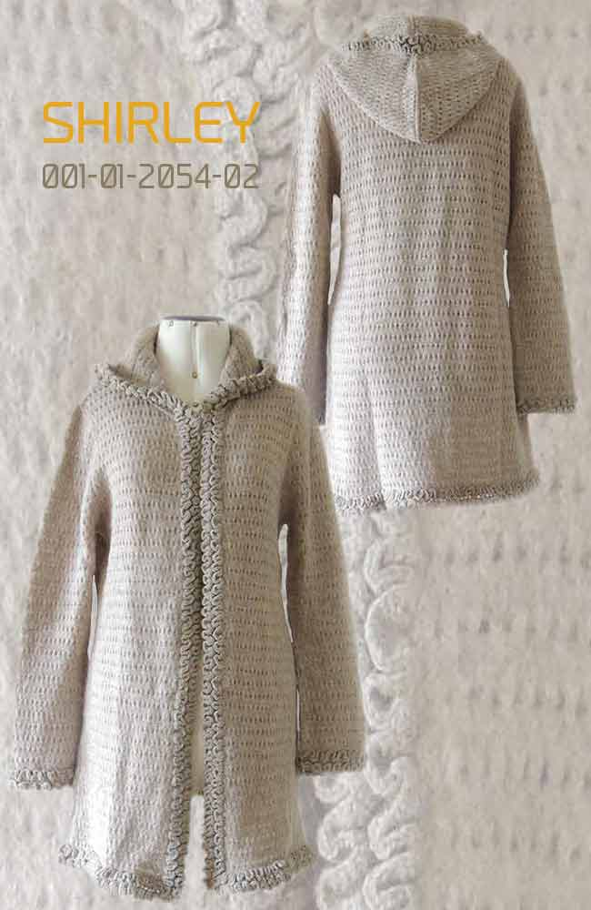 Cardigan Shirley with hood in luxury suri alpaca, taupe