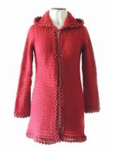 Excluding knitted open cardigan Shirley, bordeaux red with hood in soft suri alpaca wool.