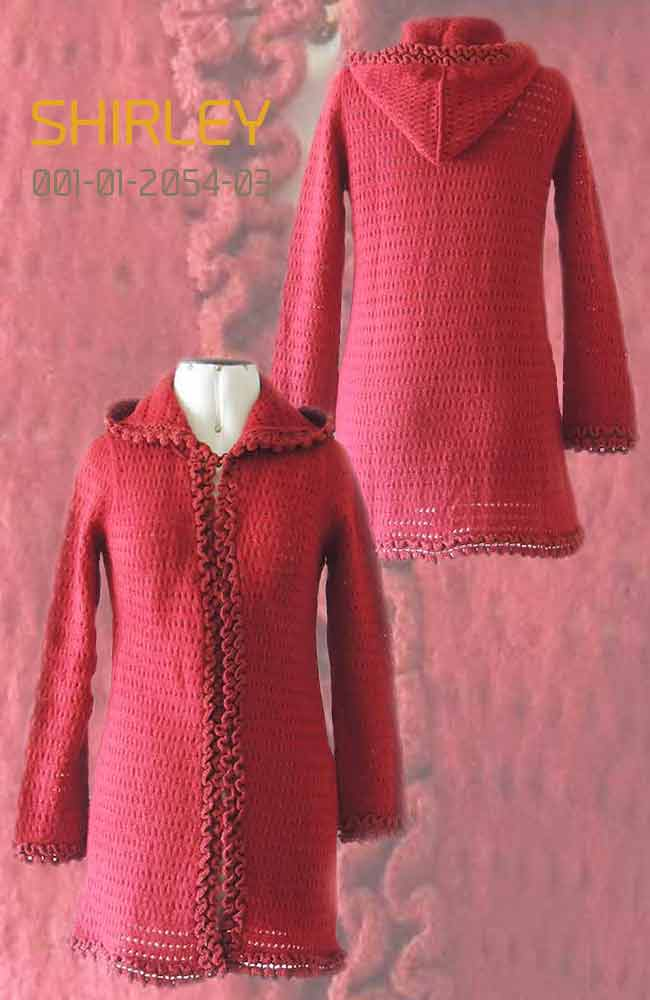 Cardigan Shirley with hood in luxury suri alpaca, red
