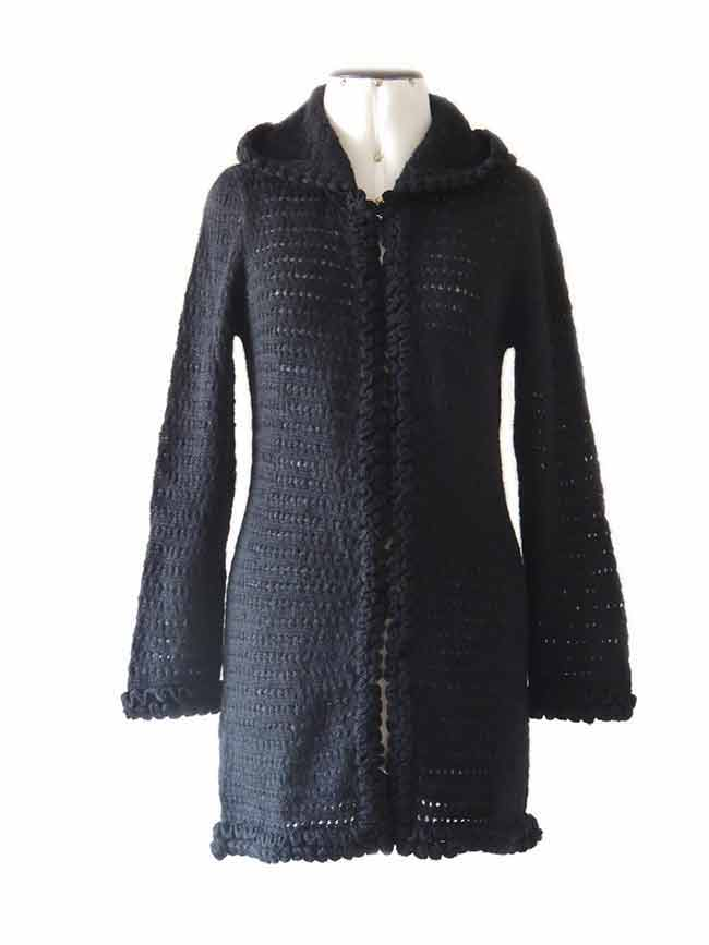Excluding knitted open cardigan Shirley, black with hood in soft suri alpaca wool.