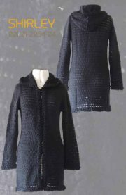 Cardigan Shirley with hood in luxury suri alpaca, black