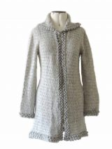 Excluding knitted open cardigan Shirley, silver gray with hood in soft suri alpaca wool.