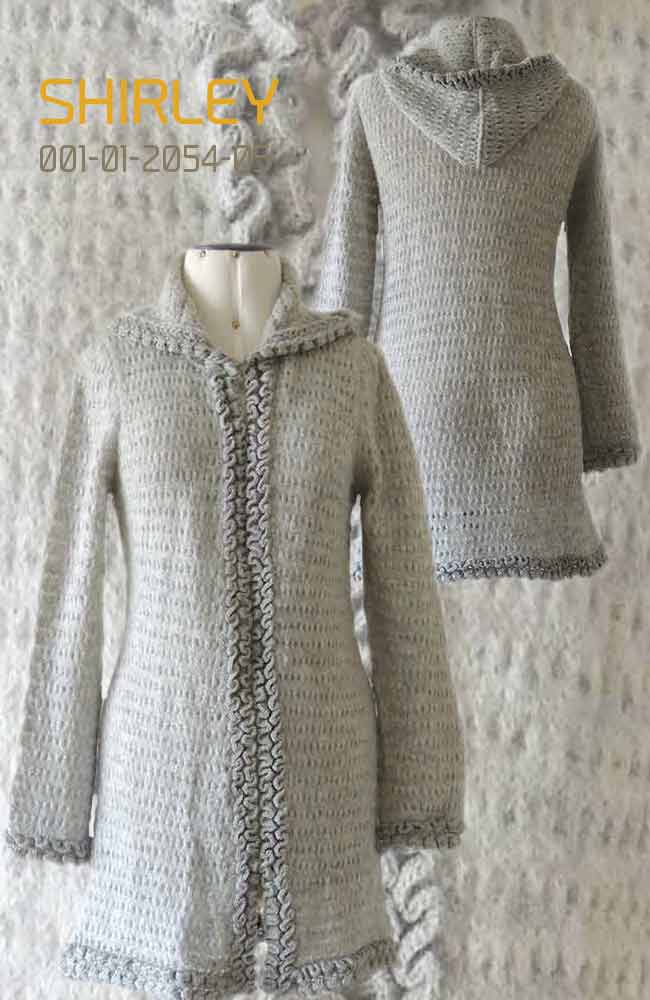 Cardigan Shirley with hood in luxury suri alpaca, grey