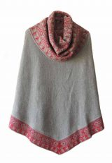 PFL Premium cape Fiona in 100% baby alpaca grey-red