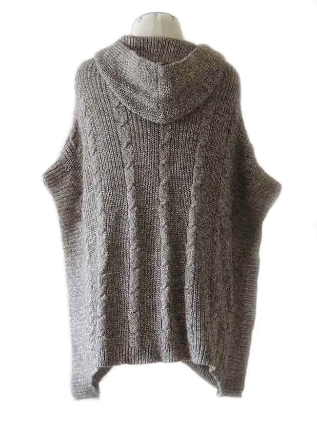 PFL knitted cape gray-marble, hoodie with a classic cable structure, rib structure at the edges.