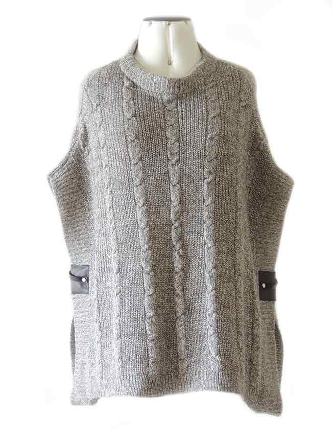 PFL knitted cape gray-marble with round neck and a classic cable structure, rib structure at the edges.