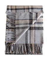 PFL HOME throw gray square, in a blend of alpaca, wool and acrylic with fringes.