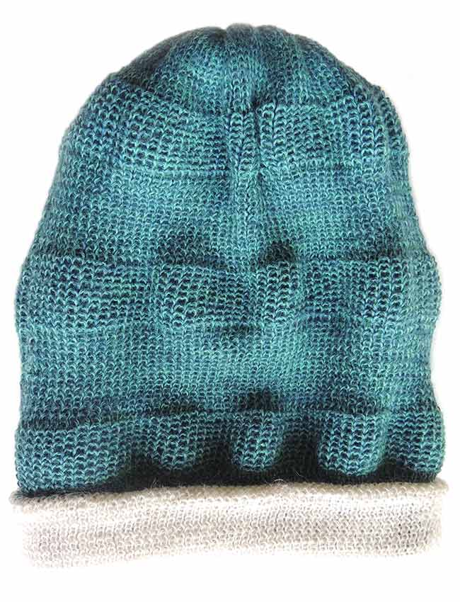PFL Premium, Double knitted reversible beanie in a blend of baby alpaca and silk