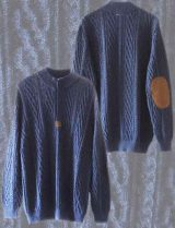 Menswear, knitted sweater with cable pattern, 1/3 hidden zipper down with leather detailing