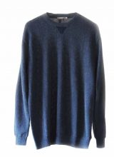 Men's fashion, fine knitted sweater, blue with leather protection on the elbows, round neck in soft baby alpaca.