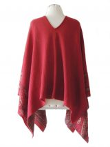 Cape / poncho red jacquard knitted beige / gray pattern made in 100% baby alpaca.