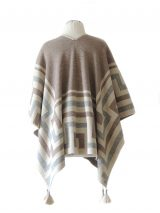 Ruana wrap, creme-grey-sand, with graphic design in 100% soft baby alpaca.