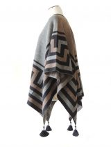 Ruana wrap, black-grey-sand, with graphic design in 100% soft baby alpaca.