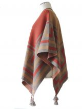 Ruana wrap, red-ocre-sand, with graphic design in 100% soft baby alpaca.