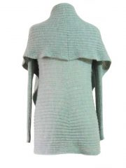 PFL knits, open cardigan Keyla, in color sea green-grey, 100% alpaca.