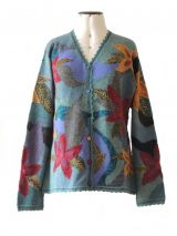 PFL Knits, intarsia craft knitted vest with floral pattern