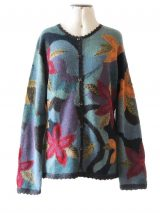 PFL Knits, intarsia craft knitted vest with floral pattern, round neck