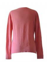 Women's cardigan Luana fuschia with V-neck and button closure.