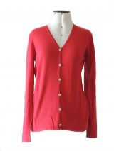 Women's cardigan Luana red with V-neck and button closure.