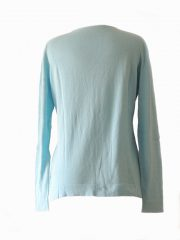 Women's cardigan Luana sky blue with V-neck and button closure.