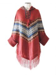 Poncho with hoodie in alpaca blend
