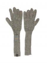 PFL knits, soft knitted long gloves in alpaca wool blend, grey.