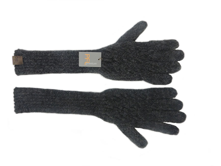 PFL knits, soft knitted long gloves in alpaca wool blend, dark grey.