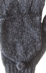 PFL knits, gloves, half finger covering gloves knitting wool mittens in alpaca wool blend, dark grey.