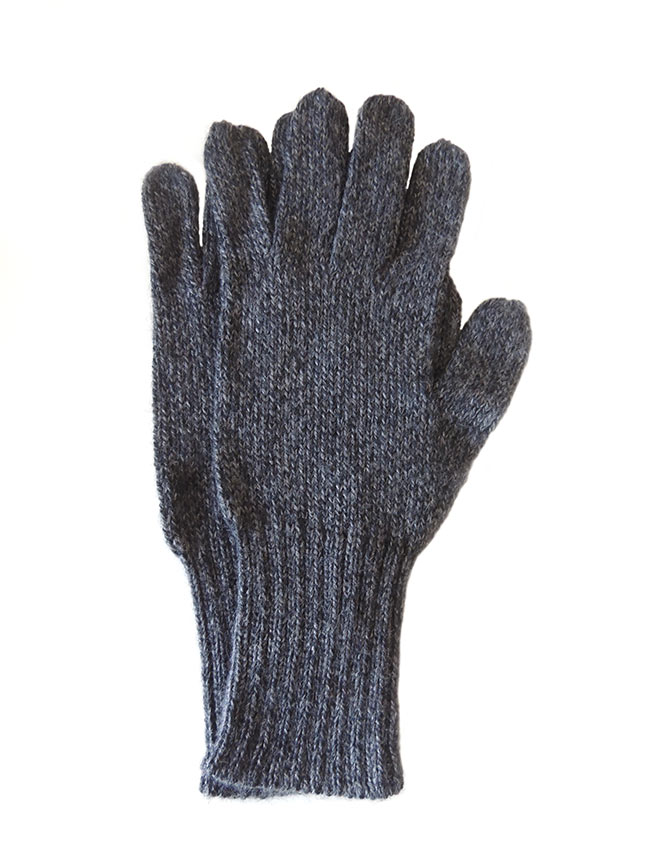 PFL knits, soft knitted gloves full fingers in alpaca wool blend, dark grey