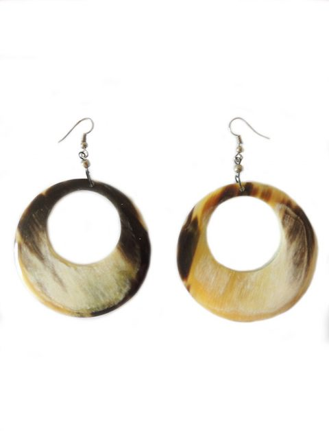 PFL, large round earrings made from polished buffalo horn, lightweight