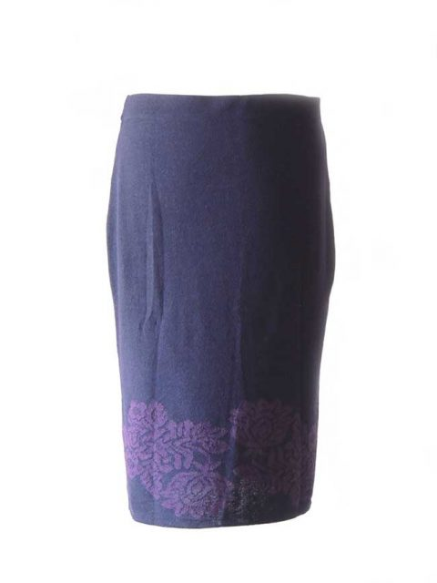 PFL knitwear Skirt Georgina blue-purple baby alpaca