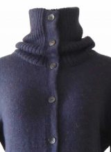 PFL knitwear Cardigan Janirta blue-purple melange long, with button closure, high closing collar, 100% alpaca.