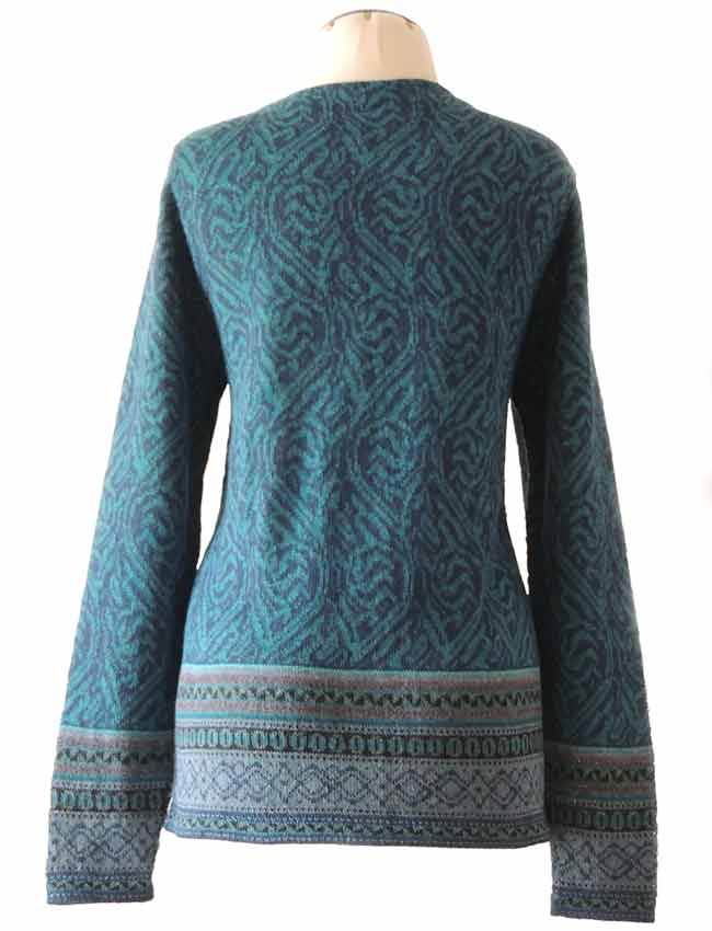 PFL knitwear Cardigan, Naomie, in blue tones with pattern, v-neck and button closure, in soft alpaca