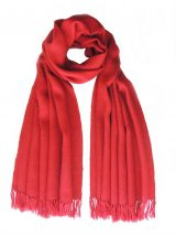 PFL knitwear Shawl / Stole, baby alpaca solid color red with fringes.