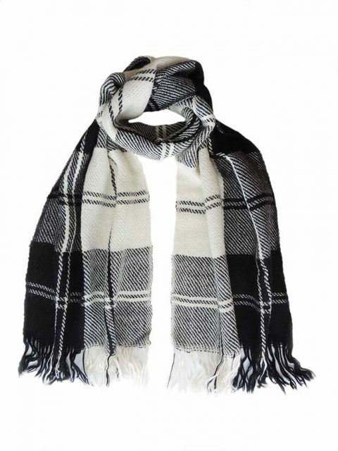 PFL Scarf, black white plaid pattern, alpaca