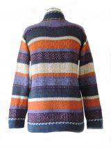 Cardigan MURU P17 multicolor stripes with button closure and high collar.