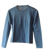 Classic sweater in blue, conducted in luxury super soft baby alpaca, with crewneck.