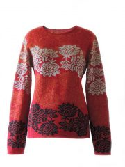 PFL knitwear, sweater Georgina red black baby alpaca